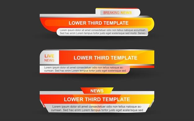 Defina banners e terços inferiores para canais de notícias com cor laranja e branco