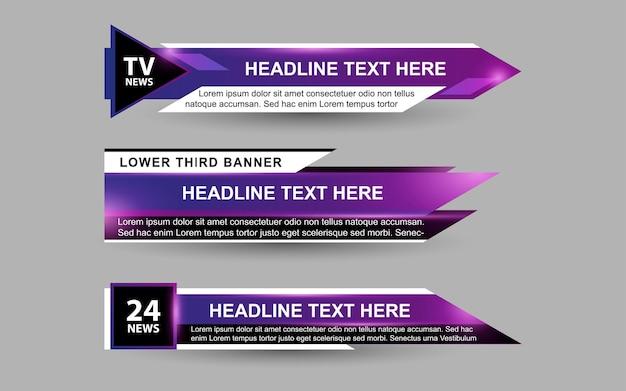 Defina banners e terços inferiores para canais de notícias com cor roxa e branca