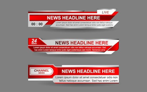 Defina banners e terços inferiores para o canal de notícias com a cor vermelha e branca