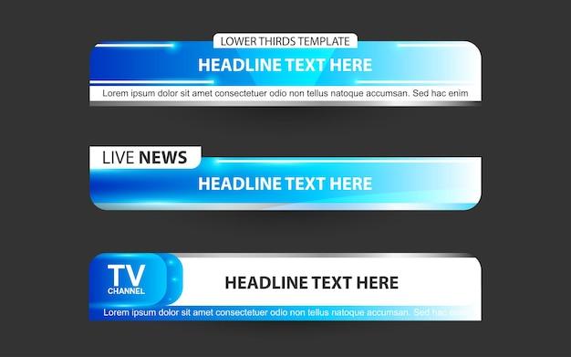 Defina banners e terços inferiores para o canal de notícias com as cores azul e branco
