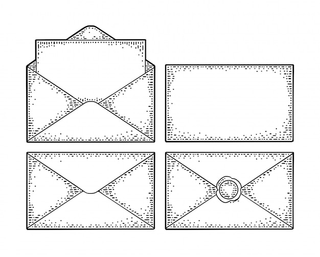 Defina diferentes envelopes de papel. gravura vintage frente e verso