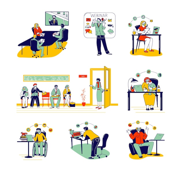 Defina educação on-line e contratação no trabalho durante a pandemia da covid19.