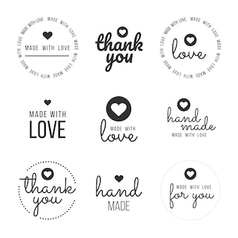Defina etiquetas e pacotes para os vendedores, incluindo etiquetas '' obrigado '', '' feito à mão '', '' feito com amor '' e '' para você ''. ilustração vetorial.