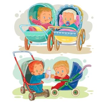 Defina ilustrações de crianças pequenas em uma carrinha e carrinho de bebê