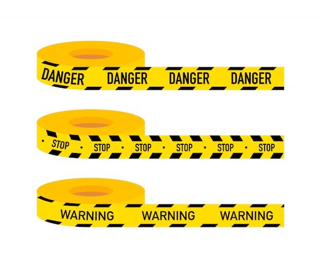 Defina linhas de cuidado isoladas. fitas de aviso. sinais de perigo. estoque de ilustração vetorial
