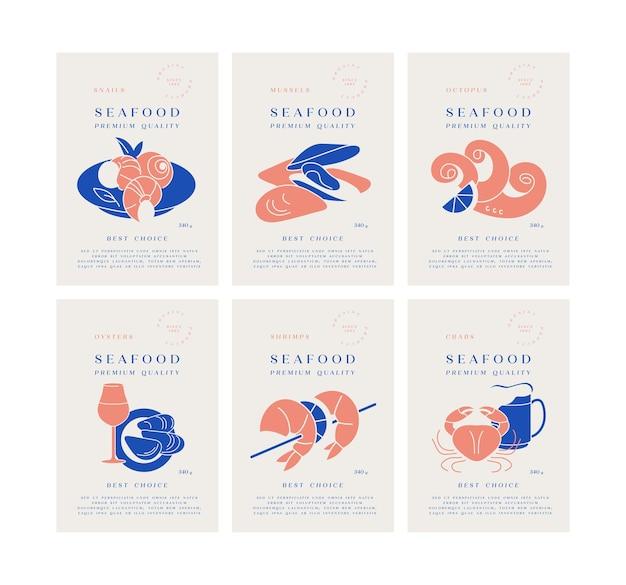 Defina modelos de rótulos de embalagem com logotipos e produtos de frutos do mar