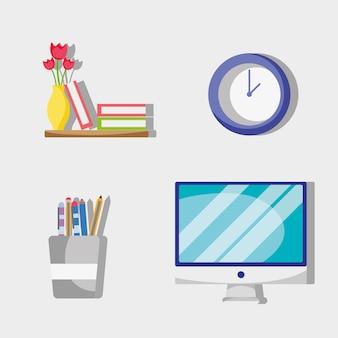 Defina o acessório plano do escritório para trabalhar