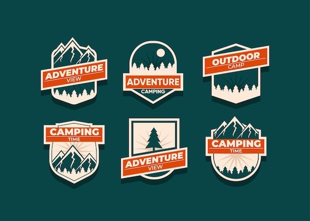 Defina o logotipo e os emblemas da montanha. um logotipo versátil para o seu negócio. ilustração no escuro