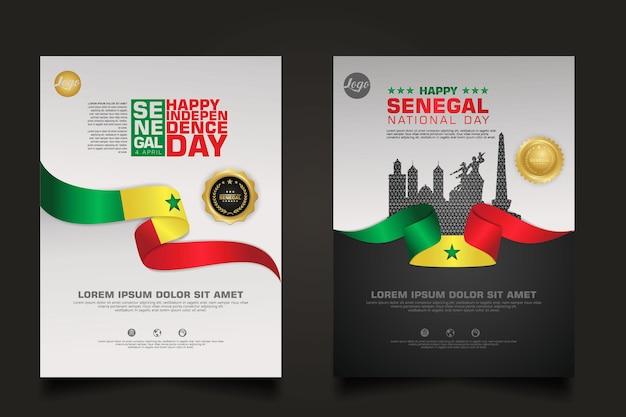 Defina o modelo de pôster do feliz dia da república do senegal com uma elegante bandeira em forma de fita