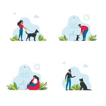 Defina o modelo de proprietários de animais de estimação. pessoas felizes brincando com seu cenário de animais domésticos. os jovens passam tempo em casa. personagens passeando com cães, relaxando com gatos. ilustração vetorial