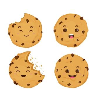 Defina o personagem emocional do biscoito kawaii fofinho em quadrinhos no estilo desenho animado