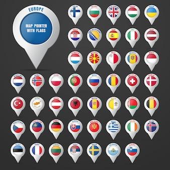 Defina o ponteiro para o mapa com a bandeira do país e seu nome. continente europeu.