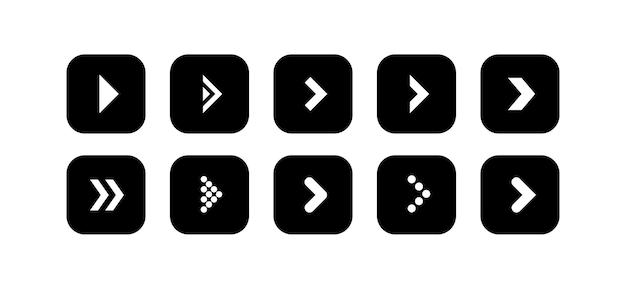 Defina o vetor para o ícone de seta preta na forma de um quadrado arredondado