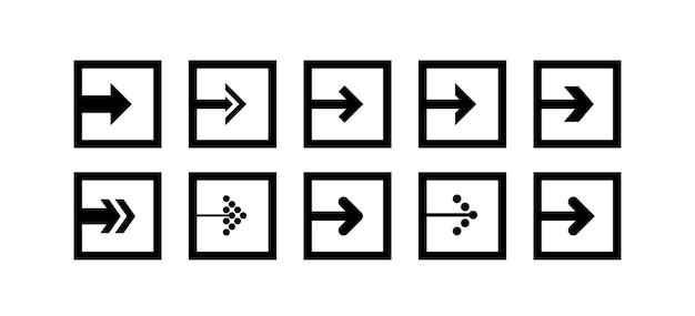 Defina o vetor para o ícone de seta preta na forma de um quadrado