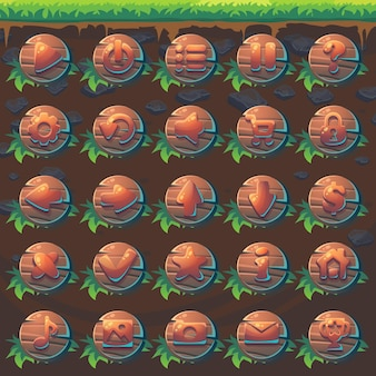 Defina os botões de feed the fox gui match 3 para videogame da web