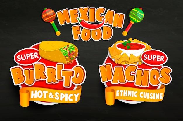 Defina os emblemas tradicionais de alimentos mexicanos, adesivos.