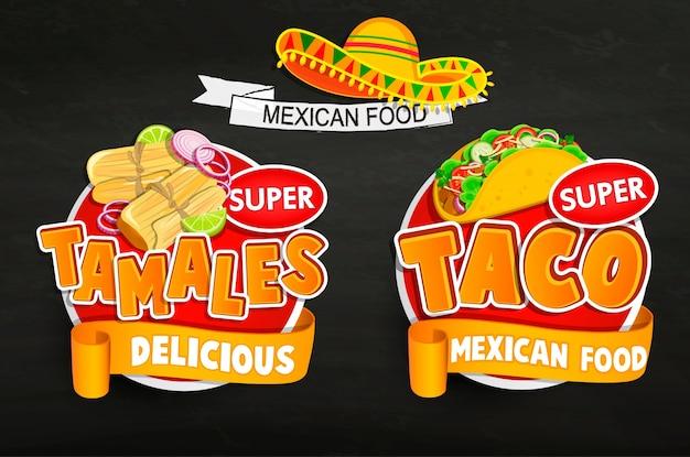 Defina os logotipos de comida mexicana tradicionais, emblemas.