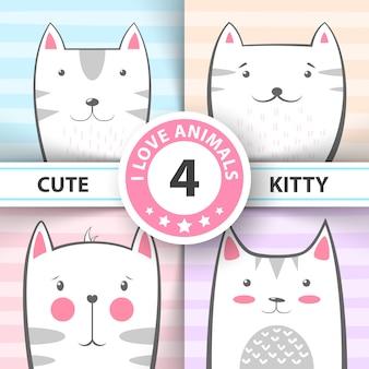 Defina personagens fofinhos de gato e gatinho.