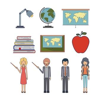 Defina pessoas professor e elemento para professora