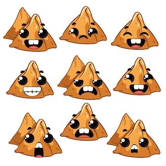 Defina samosas com emoções. ilustração vetorial no estilo cartoon divertido