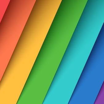 Defina sete papéis coloridos. arco iris.