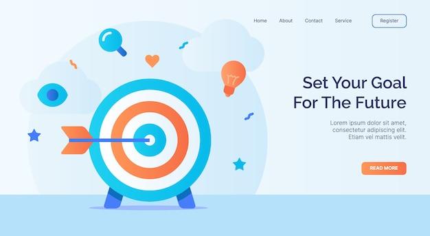 Defina seu objetivo para a futura seta na campanha de ícone de destino para o modelo de destino da página inicial do site da web com estilo cartoon.