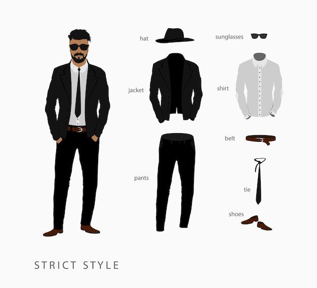 Defina um estilo estrito de roupa masculina