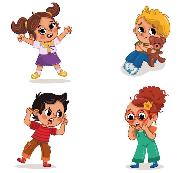 Defina um grupo de quatro crianças em diferentes emoções e personagens. feliz, zangado, triste, surpreso