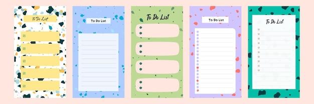 Defina uma coleção de um modelo de lista de tarefas em branco colorido para uma história de mídia social com padrão de terrazzo
