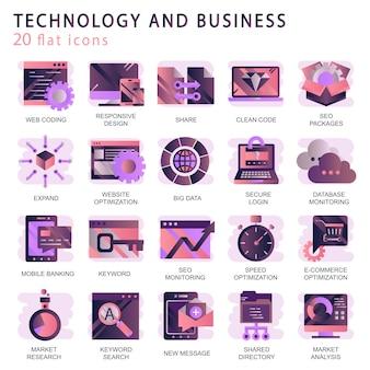 Defina vetor ícones com elementos para conceitos móveis e aplicativos web