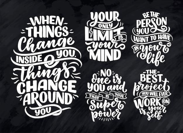 Definido com slogans de letras sobre seja você mesmo
