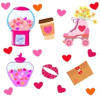 Definido para o dia dos namorados com rolos de jarra de cartas de máquina de chicletes de corações e beijo