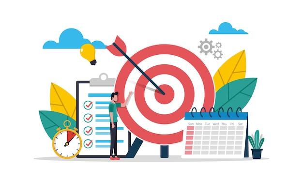 Definindo o conceito de metas inteligentes para o sucesso na vida e na ilustração vetorial de negócios