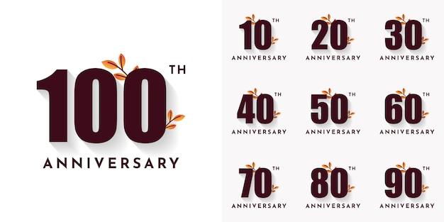 Definir 10 20 30 a 100 conjunto de números de aniversário de anos