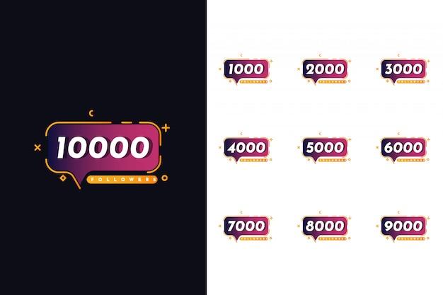 Definir 1000 a 10000 seguidores de design