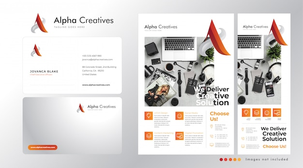 Definir a base do logotipo corporativo em a, cartão de visita, panfleto e modelo de banner em pé