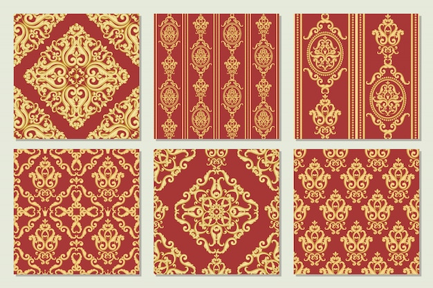 Definir a coleção de padrões de damasco sem emenda. texturas do ouro e do vermelho no estilo real rico do vintage. ilustração vetorial