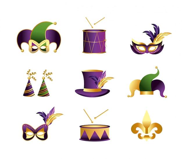Definir a decoração do merdi gras para a celebração do evento