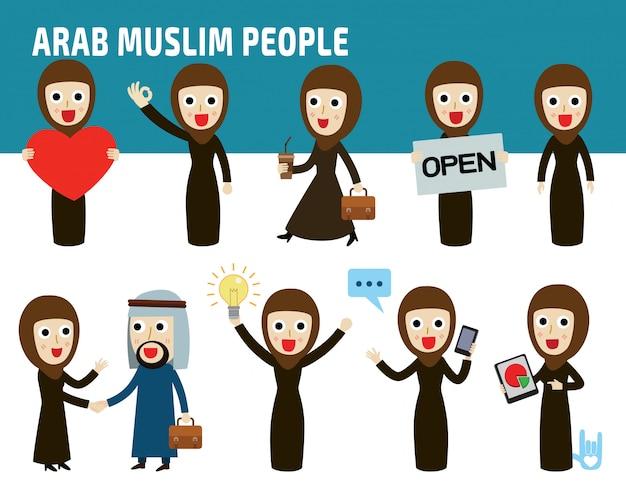 Definir a diferença de nacionalidade poses de mulher de negócios árabes.