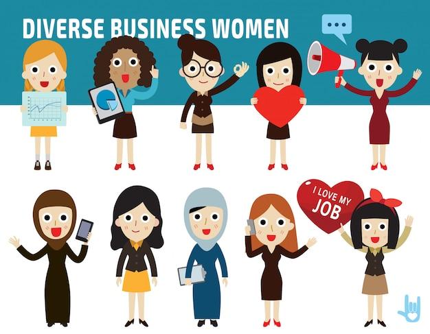 Definir a diferença de nacionalidade poses de mulheres de negócios design plano ícone dos desenhos animados