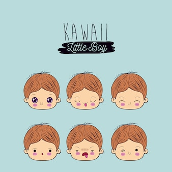 Definir a expressão facial kawaii garotinho