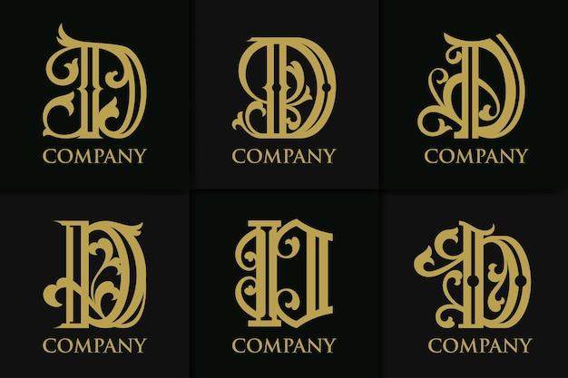 Definir a letra d do monograma coleção vintage