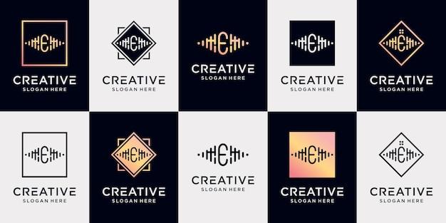 Definir a letra e inicial da coleção de design de logotipo de música com conceito exclusivo premium vector