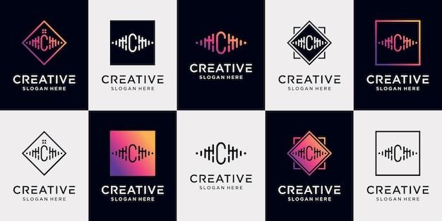Definir a letra inicial c da coleção de design de logotipo de música com conceito exclusivo premium vector