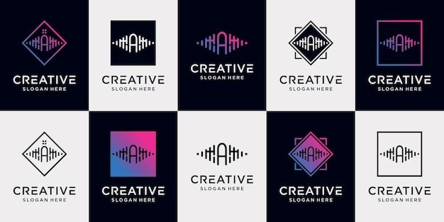 Definir a letra inicial da coleção de design de logotipo de música com conceito exclusivo premium vector