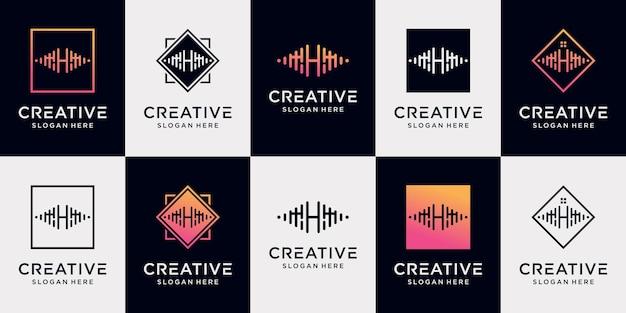 Definir a letra inicial h da coleção de design de logotipo de música com conceito exclusivo premium vector