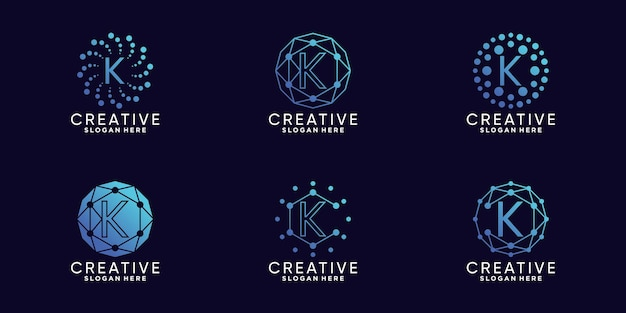 Definir a letra k inicial da tecnologia de design de logotipo de monograma de pacote com vetor premium linear e de ponto