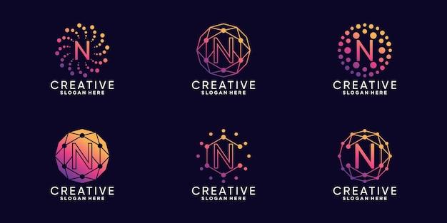 Definir a letra n inicial da tecnologia de design de logotipo de monograma de pacote com vetor premium linear e de ponto