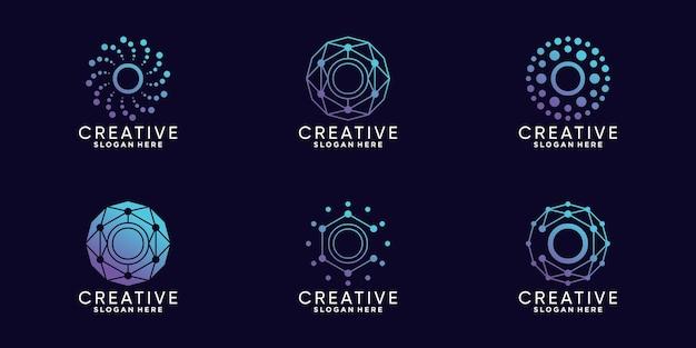 Definir a letra o inicial da tecnologia de design de logotipo de monograma de pacote com vetor premium linear e de ponto