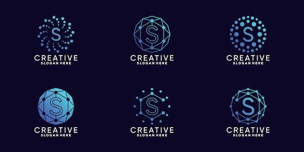 Definir a letra s inicial da tecnologia de design de logotipo de monograma de pacote com vetor premium linear e de ponto